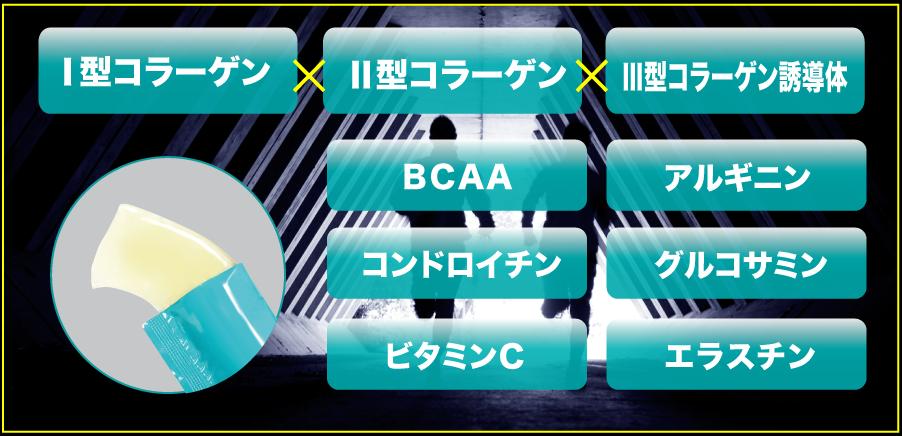 3つのコラーゲン、BCAA、コンドロイチン、アルギニン、エラスチンを配合
